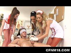 Hot teen cfnm nurses in heels suck and fuck patient