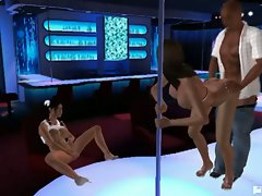 Peep show with 3d animated babes fucking