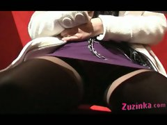 Zuzinka plays with her pussy in a sushi bar