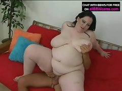 Big brunette bitch gets her fat twat teased