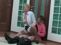 Blonde milf drops her papers and he helps to get seduced