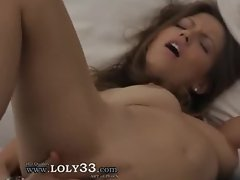 tight brunette fingering her pussy