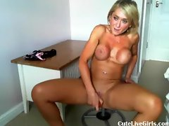blonde pleasuring her pussy on a chair 5 .flv