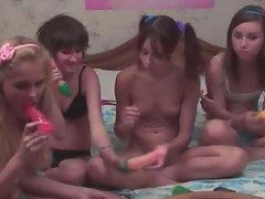 Four russian schoolgirls in live show