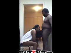 Black hubby gets slow blowjob