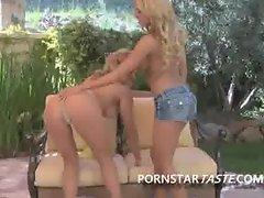 Lesbian babe backyard oral two sexy blondes