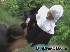Slutty french nun fucked outside porno part1