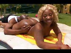 Black Couple Fuck Beside The Pool