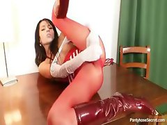 Nylon freak Victoria Rose put on some hot red nylons and others before trying her dildo