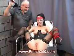 Brunette Tawny gets her pussy whipped from a mature master