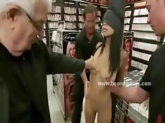 Busty office slut with stockings undressed and forced to fuck in violent unbelievable gangbang sex