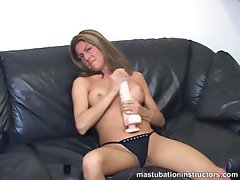 Jerk off teacher flashes her tits as she demos titty fuck with a dildo