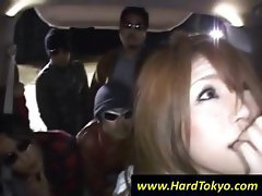 Japanese girl is getting gangbanged by all these horny dudes