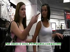 Jamee angelic brunette teen public flashing tits and pussy
