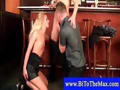 Horny couple in a foreplay at the bar