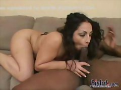 Curly-haired brunette bimbo gets her bushy muff screwed by black dick