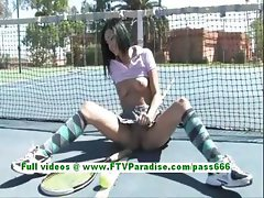 Shanel hot brunette teen flashing tits and ass on the tenis field