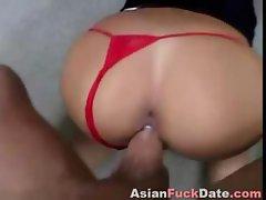 Japanese Keiko Nakahata eats his cock and then gets banged