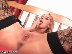 Sexy blonde whore going crazy rubbing