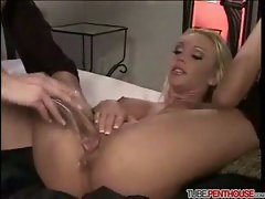Two girls and a crystal dildo 1
