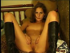 Teen with boots shows off
