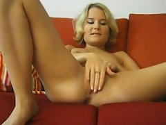 Young blonde on couch