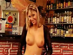 Gina naked in the bar 1