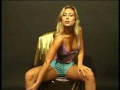 Blonde seducing on chair