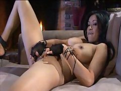 Horny Asian at the fireplace