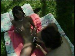 Black female fun in garden