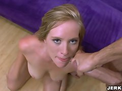 Huge boobed Naomi Cruise receives a gaggy load of creamy jizz on her mouth