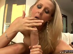 Hardcore MILF Julia Ann sucks off big fucking cock leaving her cum soaked