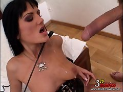 Sarah Twain gets mouthfucked as she looks slutty on her knees