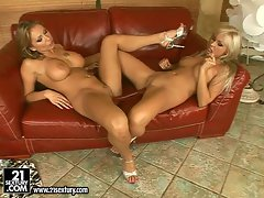 Slutty Adriana Russo and her friend filling their pussy with two head dildo
