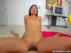 Crissy Moon rides a big dick and gets her tight pussy fucked hard