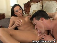 Rachel Starr swallows a huge dick while getting her slit licked