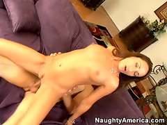 Crazy babe Michelle Lay lays straddles her man and takes a bumpy ride