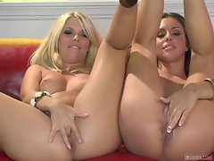Hot babe Jana Jordan and her sexy friend enjoy some lesbian fun