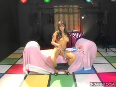 Buxom Mason Marconi does a sofa striptease to flash her tits