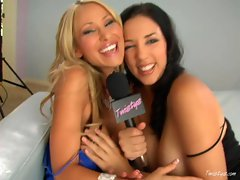 Big boobed Jelena Jensen and Sandee Westgate getting naughty in an interview