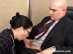Reina Leone, black haired, sucking her boss's cock in office