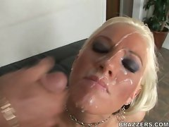 Sexy busty whore Tricia Oaks enjoys getting her face covered with cum