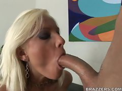 Tricia Oaks takes a hard massive cock in her sweet mouth