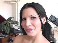 Hot latina slut Rebecca Linares likes jerking off her boyfriend
