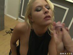 Sexy blonde Riley Evans deepthroating a big cock untill she gags