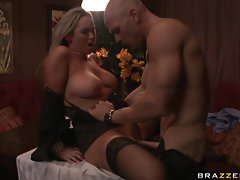 A meaty pole punishes Abbey Brooks wet pussy by drilling it deep