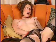 Sexy brunette Aimee Sweets gets hot touching herself on the couch