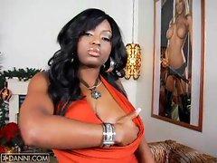 Hot black slut Jade Fire undresses and unleashes her hot tits