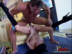 Sexy Trinity receives a warm creamy load of cum spray on her sweet mouth