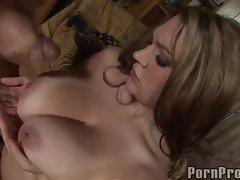 Cassandra Calogera receives a warm load of creamy cum between her massive tits